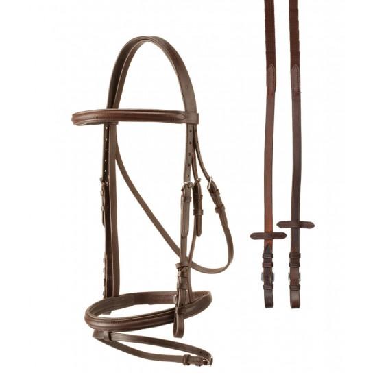 Testiera per cavalli monta inglese TATTINI con redini in cuoio qualità superiore